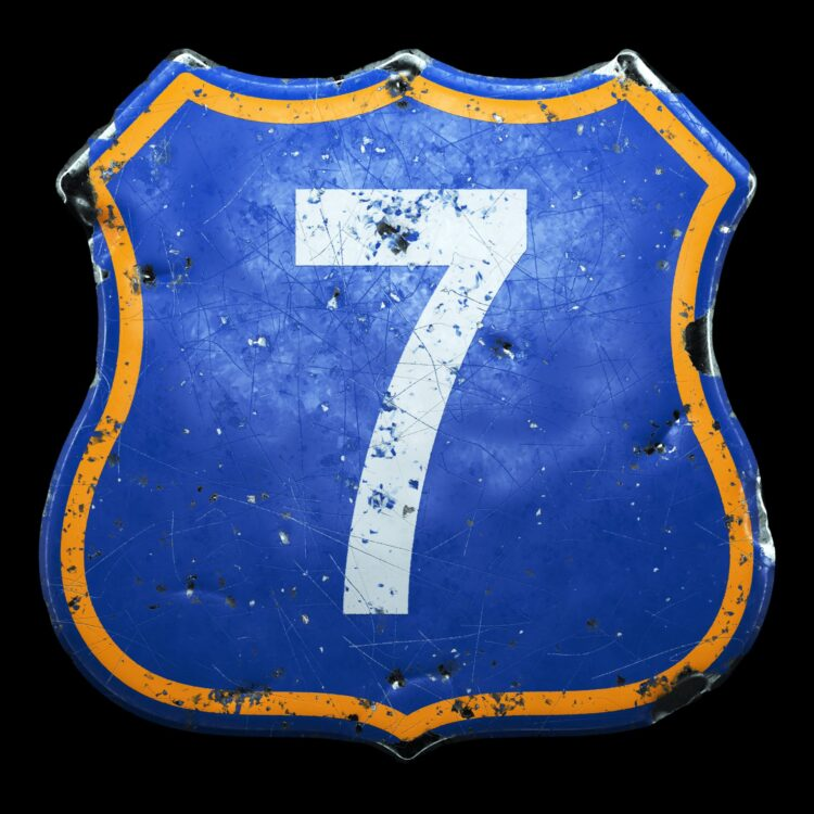 old sign with a seven